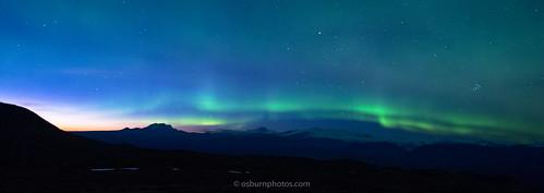 Auroras over Saint Elias Mountains