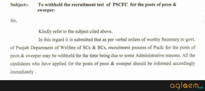 PSCFC Recruitment 2016   Punjab SC Land Development & Finance Corpration Recruitment for Various Post