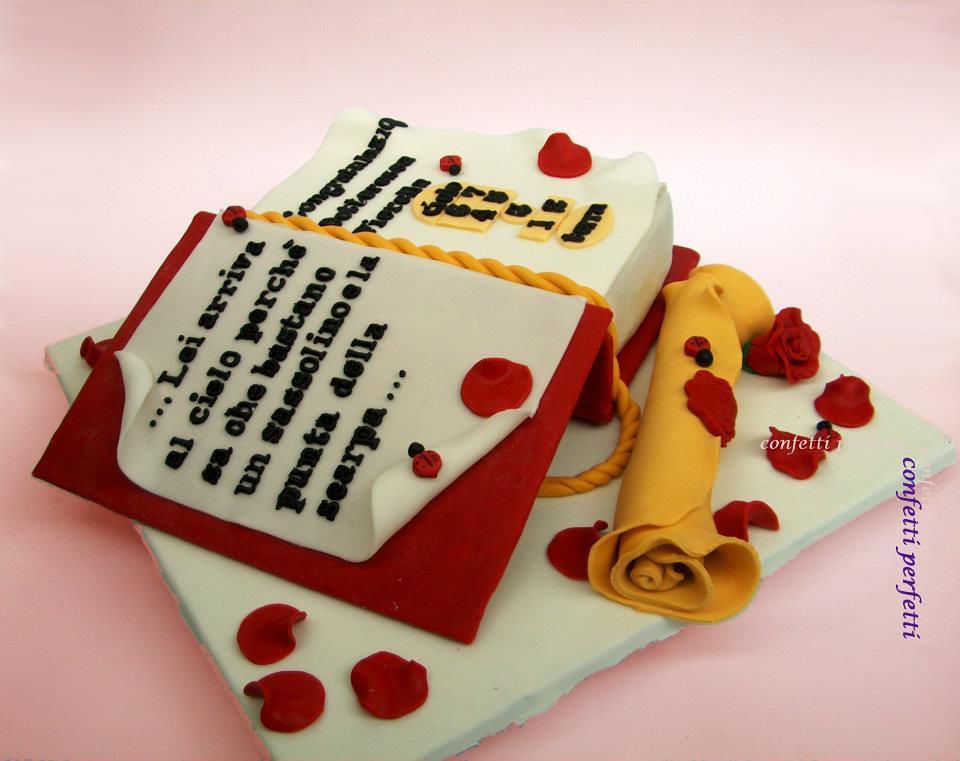 torta40 laurea 2 Torta decorata in pasta di zucchero ...