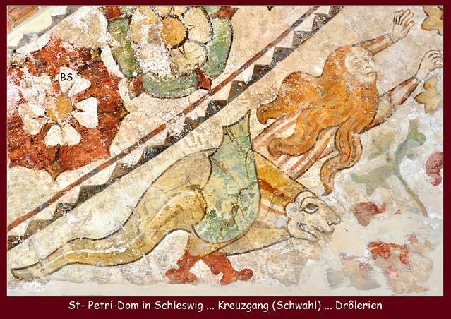 Schleswig Dom St. Petri Kreuzgang Schwahl Fresken Deckengemälde Drôlerien Gewölbeschlussstein Truthahnstreit ... Fotos und Collagen: Brigitte Stolle 2016