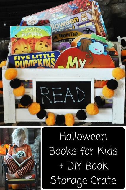 Halloween Books for Kids + DIY Book Storage Crate
