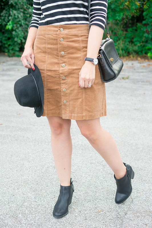 black and white stripe tee + black hat + cord tan button skirt + black ankle boots Target; casual fall outfit | Style On Target blog