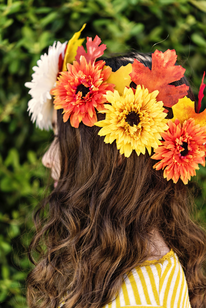 DIY fall leaf and flower crown headdress - fall crafts for kids