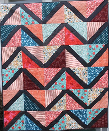 Coral and Charcoal Lattice Quilt | by DanaK~WaterPenny