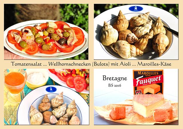 Ein Abendessen in der Bretagne: Tomatensalat, Bulots (Wellhornschnecken) mit Aioli, Maroilles-Käse, Cidre. Fotos: Brigitte Stolle 2016