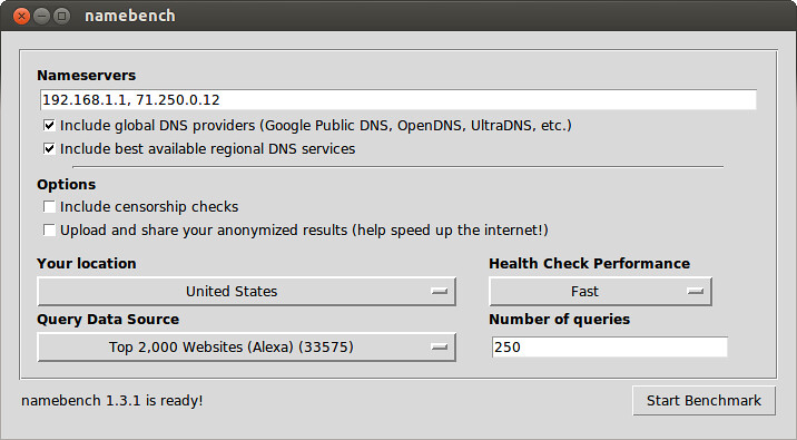 Test DNS Speed with namebench - How to test DNS server ...