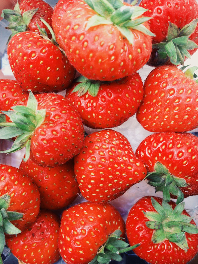 close up of fresh strawberries