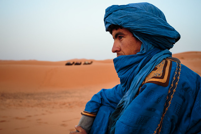 Berber guide in the African Sahara Desert