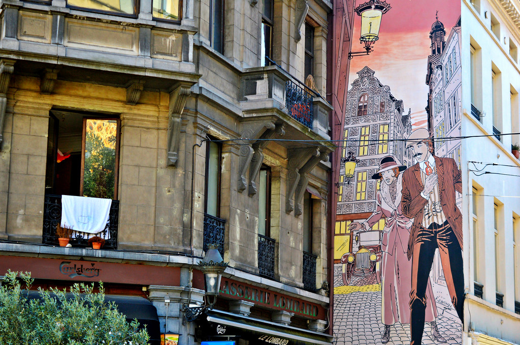 Comic Book mural in central Brussels