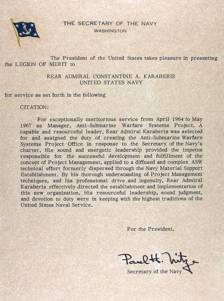 Legion of Merit Citation Example Legion of Merit Citation From Secretary of Navy Paul Nitze Flickr Photo