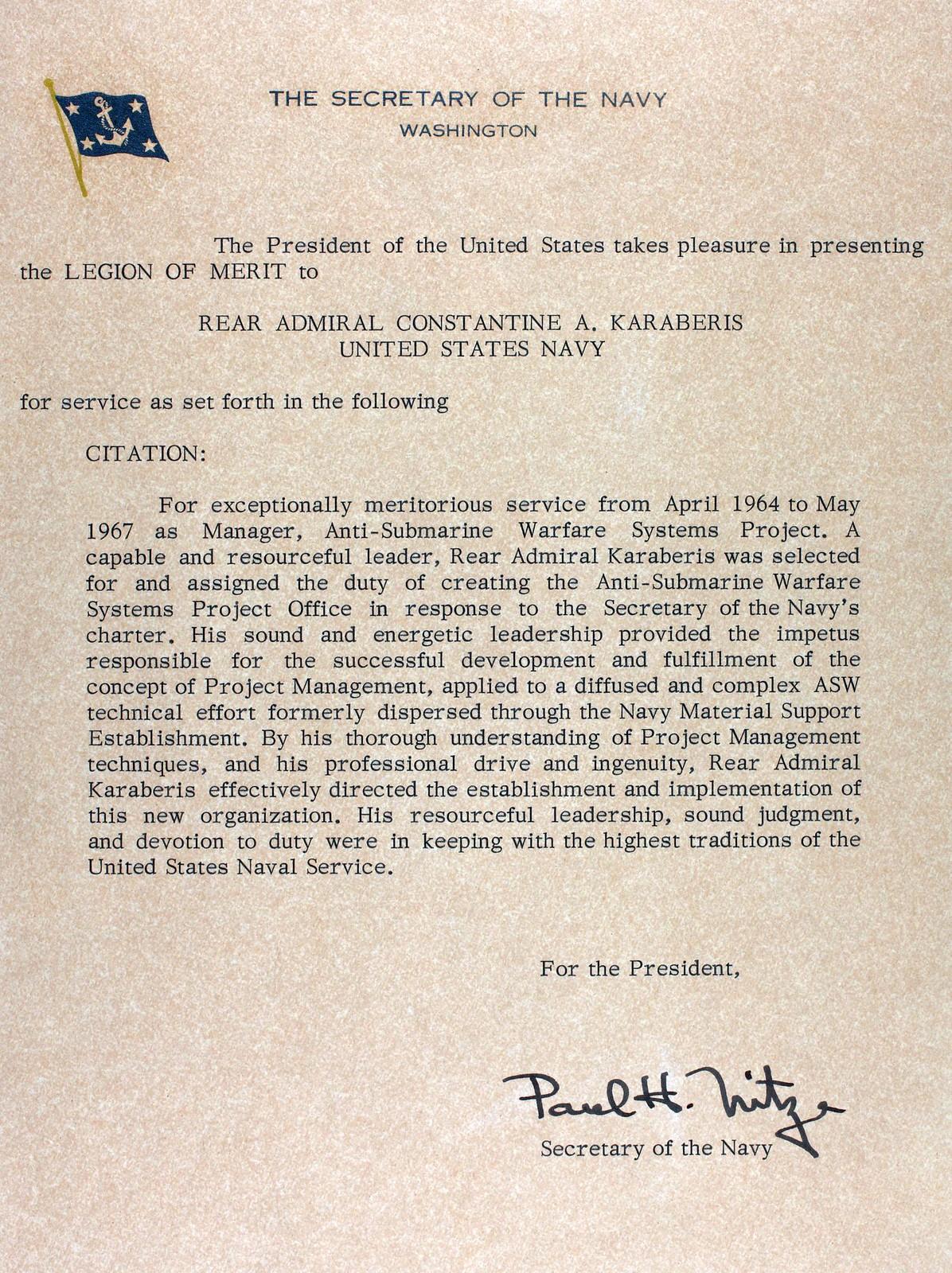 Legion of Merit Citation Example Legion of Merit Citation From