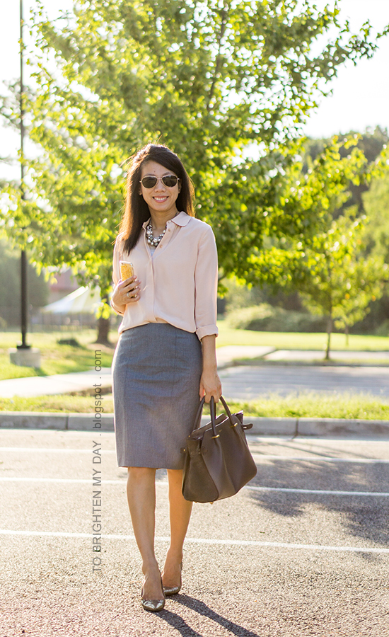 mixed pearl cluster necklace, peach silk button up shirt, gray pencil skirt, gray tote, glitter pumps