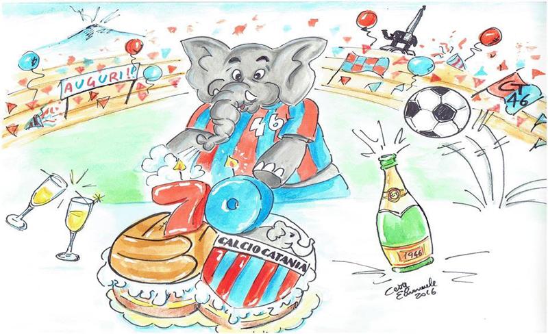 Un gioioso Elefante davanti ad una torta tutta rossazzurra (Illustrazione di Cetty Emanuele)