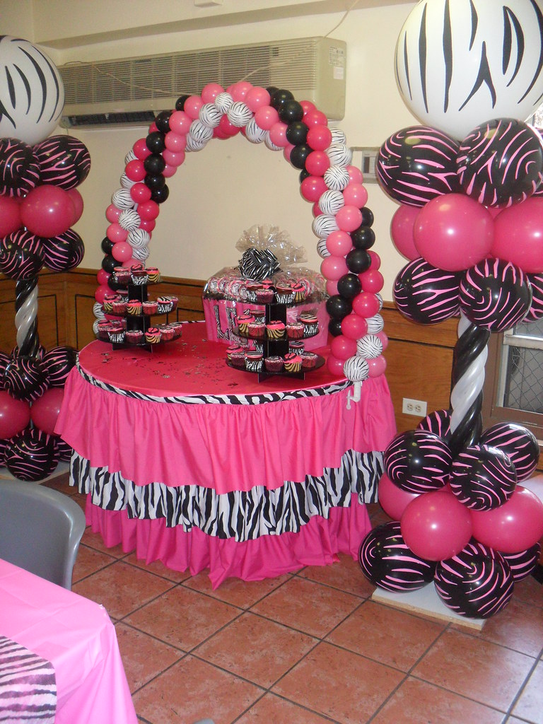 Zebra and hot pink baby shower decor dream team events for Zebra print and red bathroom ideas