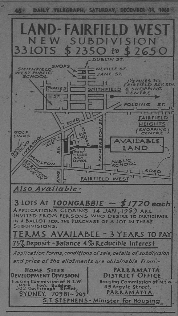 Fairfield West Ad December 14 1968 daily telegraph 46