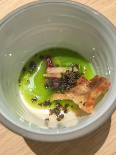 Gruß aus der Küche mit Schweinebauch, Ox & Klee, Köln