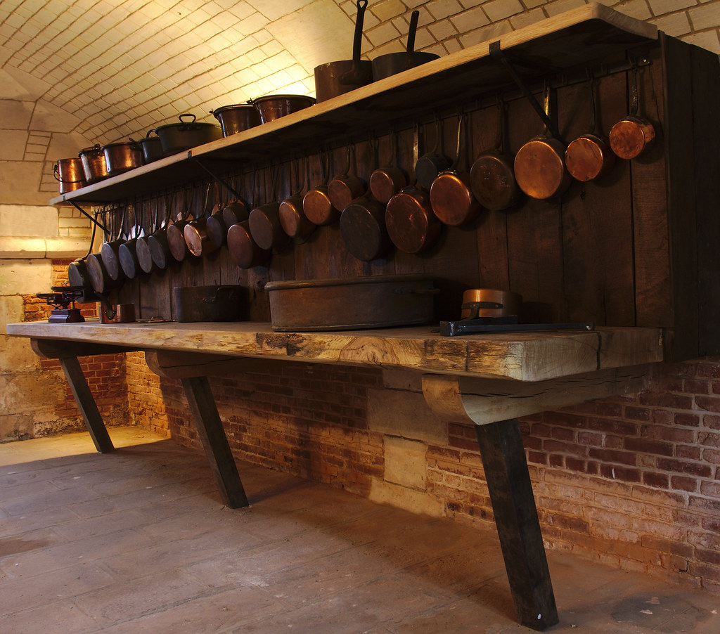 New Castle Kitchen: Copper Pots In The Kitchen Of A Castle
