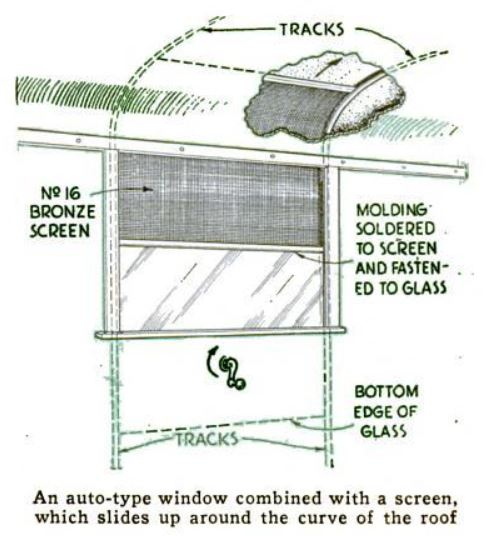 1937 Popular Science - A tracked window screen for a home-built curved top camper trailer.