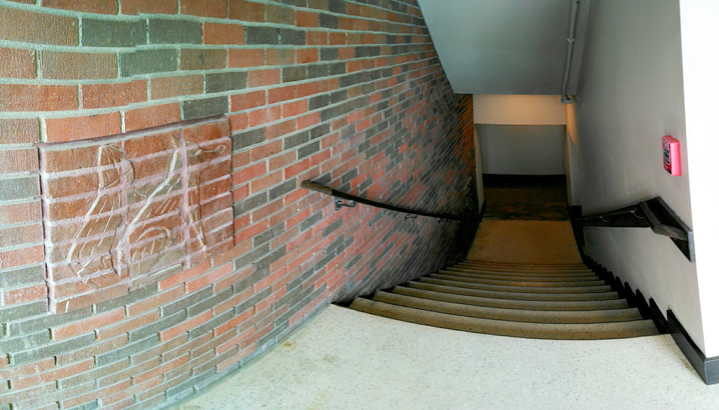 "... ""The Fox"" Stairwell 3 fired brick art mosaics at The Roosevelt open house Ames. """