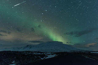 Meteor shower and Northern Lights over Snæfellsnes glacier, Iceland | by diana_robinson