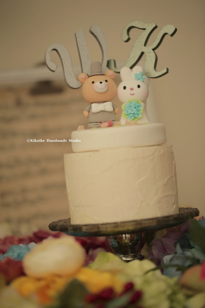 rabbit and bear with handmade initials letters wedding cak… | Flickr