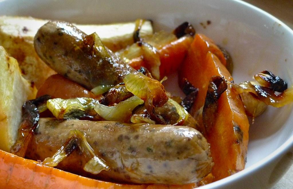 Carrot, parsnip & sausage one pot dinner close up