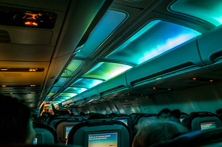 Northern Lights aboard our Icelandair flight to Reykjavik | by sergejf
