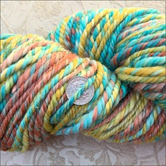 Turquoise and Coral handspun, close up