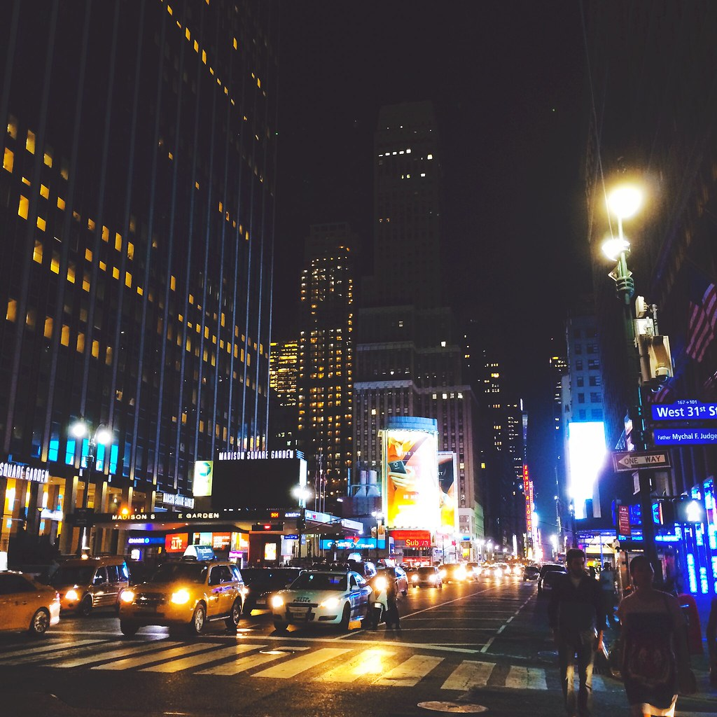 The streets of New York City at nighttime | via It's Travel O'Clock