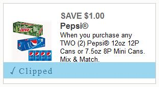 Reset Pepsi 12pk Cans Coupon
