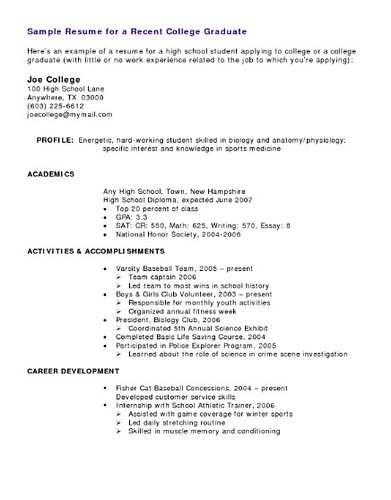 resume example flickr sample resumes high school students - Sample College Resumes For High School Seniors