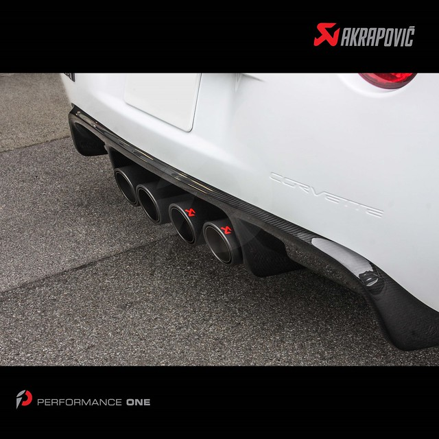 Akrapovič Slip-On Line (SS) exhaust system w/ carbon fiber tips & APR Performance carbon fiber rear diffuser for Corvette ZR1
