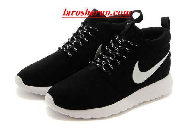 02d86f0eaf9e ... chaussures nike roshe run anti-fur Mid femme noir blanc blanc logo  www.larosherun