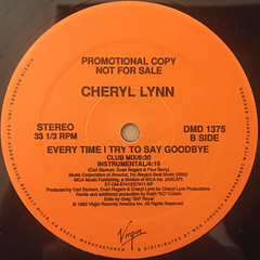 CHERYL LYNN:EVERY TIME I TRY TO SAY GOODBYE(LABEL SIDE-B)