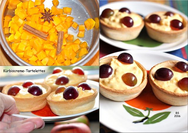 Herbstliches Dessert: Kürbiscreme-Törtchen Tartelettes mit Mascarpone ... Trauben, Nüsse, Zimt ... Fotos und Collagen: Brigitte Stolle 2016