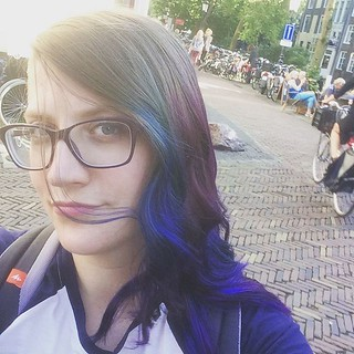 I dipped my hair in some space. #dipdye #hairstyles #galaxyhair #kinkikappers #oudegracht #utrecht | by Eefje S