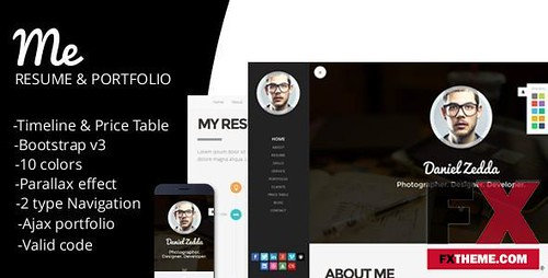 Preview ME-Responsive Personal Resume and Portfolio Template Kam Rod | by JameBridges
