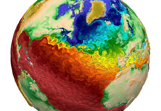 High-performance computing produces scientific tools such as this visualization from Los Alamos National Laboratory depicting  global water-surface temperatures, with the surface texture driven by vorticity. Regions of warmer water (red) adjacent to the Gulf Stream off the eastern coast of the U.S. indicate the model's capability to simulate eddy transport of heat within the ocean, a key component necessary to accurately simulate global climate change. A new generation of exascale computers could boost scientific capabilities to new levels.
