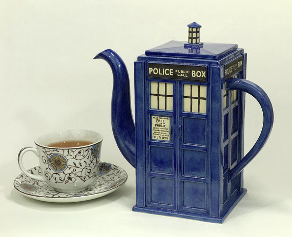 Doctor Who TARDIS Teapot by Jadeflower Ceramics on Etsy.