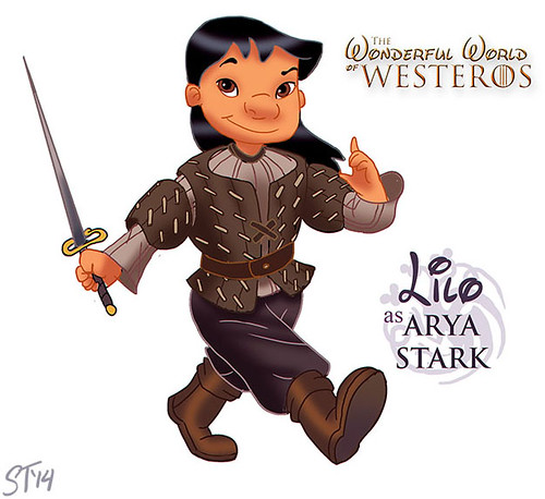 Disney Princesses vs Game of Thrones by DjeDjehuti - Lilo as Arya Stark