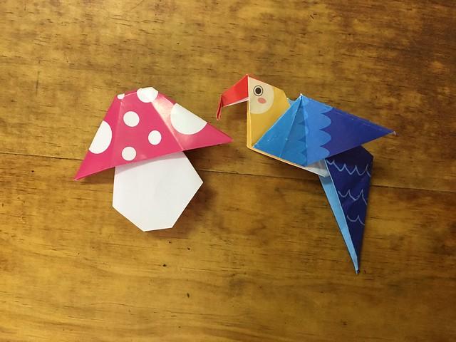 摺紙之蘑菇與鸚鵡