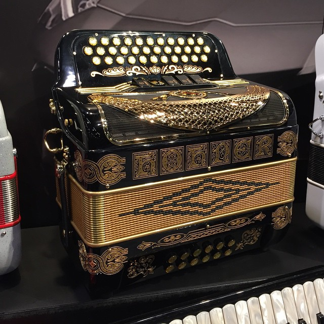 Gold For Sale >> Beautiful new Hohner Anacleto... black with gold deco and ...