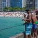 Fishing on Leme Beach