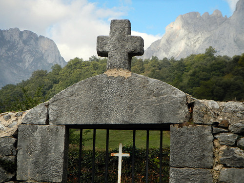 Crosses in the mountain village of Brez in the Picos de Europa, Spain