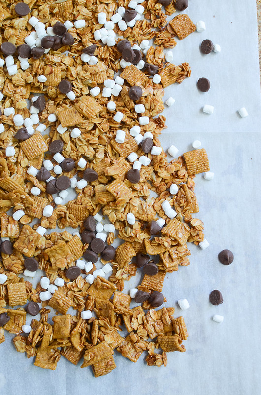 S'mores Granola - eat your s'mores with a spoon! Crunchy granola with chocolate chunks, mini marshmallows, and Golden Grahams cereal!