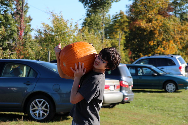 Adam carries a pumpkin