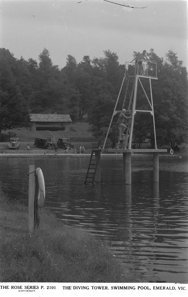 The Diving Tower Swimming Pool Emerald Vic C1920 1954 Flickr