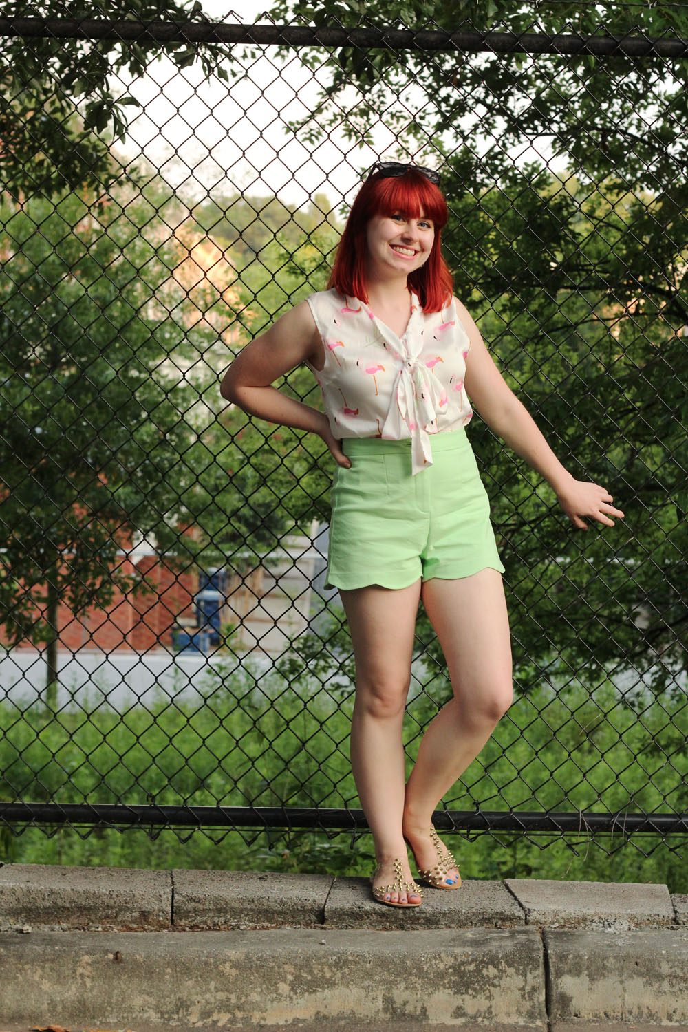 Flamingo Print Bow Blouse Green Scalloped Shorts Clear Gold Spiked Sandals