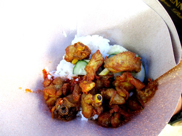 Nasi kak wok, in a packet