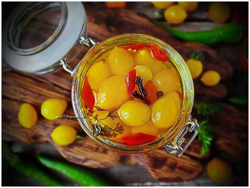 ...yellow cherry tomatoes in mustard oil